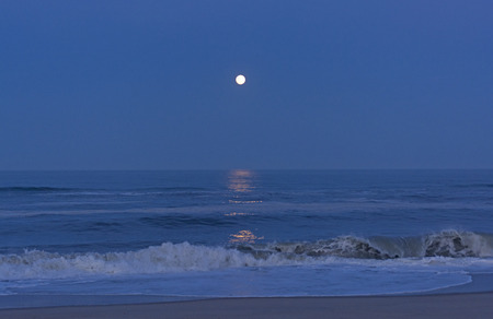 hatteras: Moon Reflections in the Twilight on the Shore of Cape Hatteras in North Carolina Stock Photo
