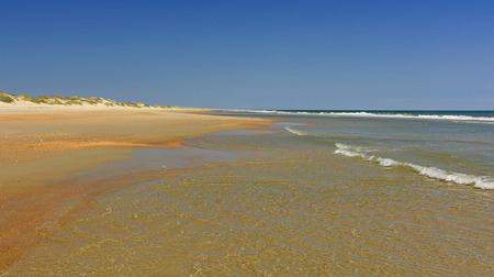 outer banks: Quiet Currents on an Ocean Beach on Ocracoke Island in Outer Banks of North Carolina