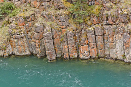whitehorse: Eroded Basalt in a Miles Canyon on Yukon River in Canada Stock Photo