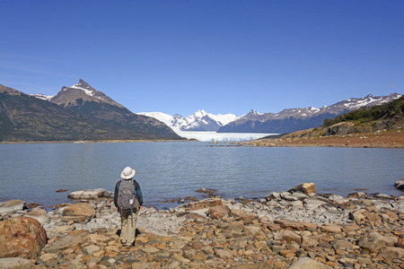 los glaciares: Looking at a Mountain Panorama of the Perito Moreno Glacier and the Andes Mountains in Los Glaciares National Park in Argentina