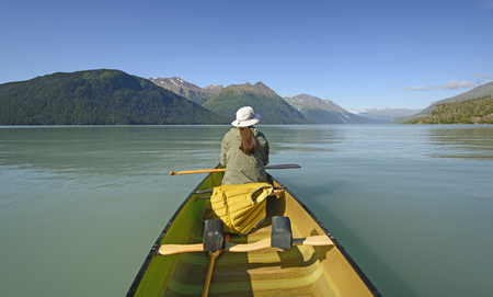 Enjoying a Calm Day on an Kenai Lake in Alaska Stock Photo