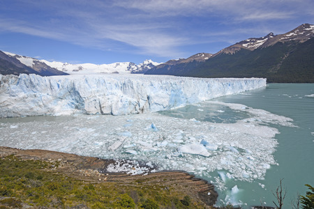glaciares: Perito Moreno Glacier in the Sun in Los Glaciares National Park in Argentina Stock Photo