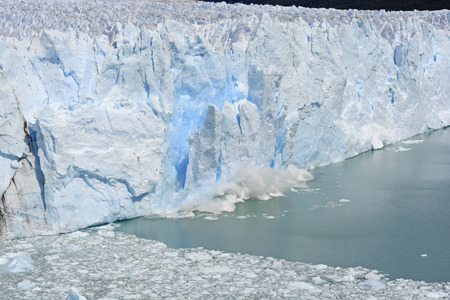 calving: Ice Calving off of the Perito Moreno Glacier in Los Glaciares National Park in Argentina
