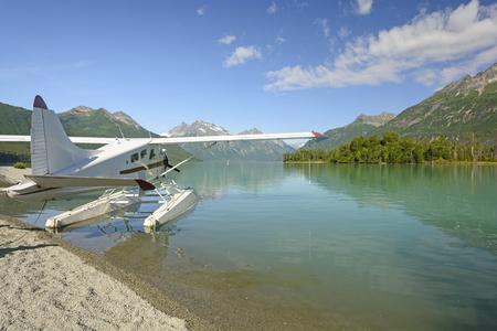 crescent lake: Float Plane on Crescent Lake in Lake Clark National Park in Alaska Stock Photo