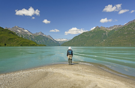 crescent lake: Enjoying a Spectacular View of Crescent Lake on a Sunny Summer day in Lake Clark National Park in Alaska