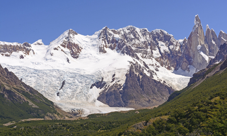 chalten: Mountains and Glaciers  of Cerro Torre on a Sunny Day near El Chalten in Argentina