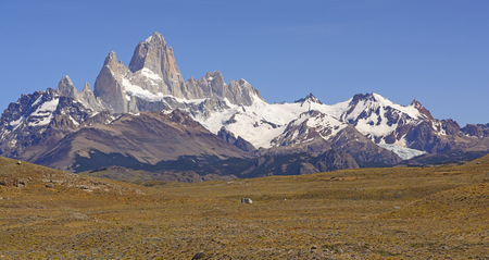 chalten: Mount Fitz Roy on a Sunny Day near El Chalten in Argentina Stock Photo