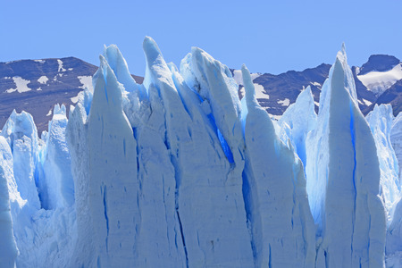 glaciares: Contorted Ice on the Perito Moreno Glacier in Los Glaciares National Park in Argentina Stock Photo
