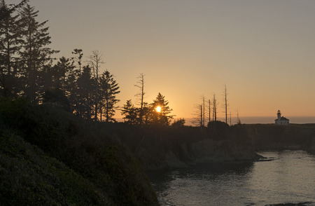 oregon coast: Sunset on a Remote Beach on Cape Arago on the Oregon Coast near Coos Bay Stock Photo
