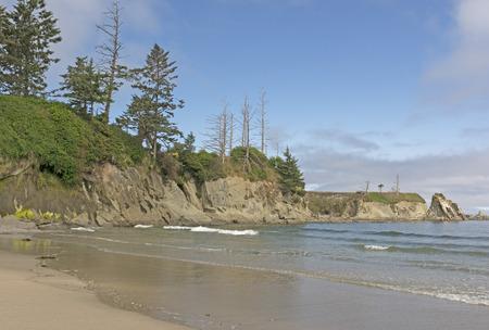 rugged: Rugged Coastal Beach on a Sunny Day in Lighthouse Beach on the Oregon Coast near Coos Bay Stock Photo