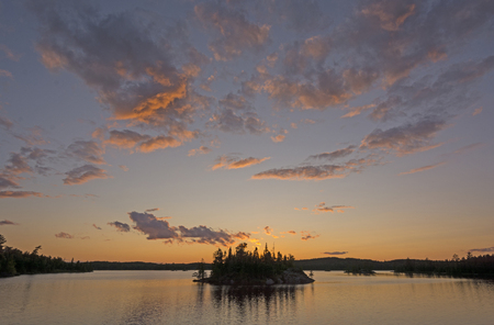 north woods: Sunset in the North Woods on Saganagons Lake in Quetico Provincial Park in Canada