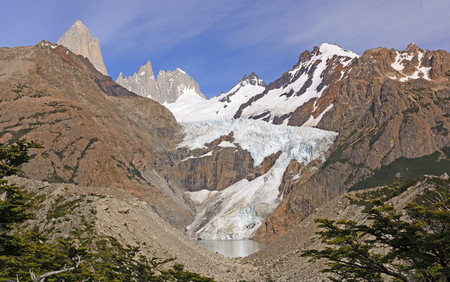 andes mountain: Glaciers and Peaks in a Remote Mountain Valley on the Patagonian Andes of Argentina