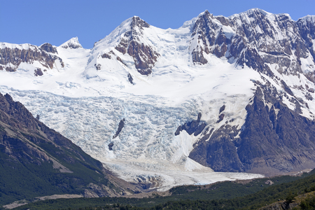 cerro chalten: Grande Glacier in the Patagonian Andes in Argentina Stock Photo