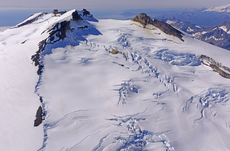 four peaks wilderness: Ice and Snow on a Four Peaked Volcano in the Alaska Peninsula
