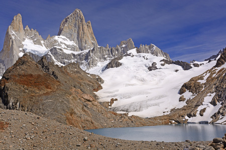 roy: Spectacular Alpine Panorama of Mount Fitz Roy and Third Lake in the Patagonian Andes in Argentina