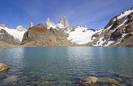fitz roy: Mt Fitz Roy above the Lagoon de los Tres in the Patagonian Andes Los Glaciares National park in Argentina
