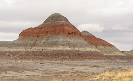 mudstone: Eroded Butte in the Painted Desert of Petrified Forest National Park in Arizona