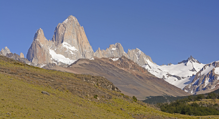 mountain valley: The Patagonian Andes along a Mountain Valley in Los Glaciares National Park in Argentina Stock Photo