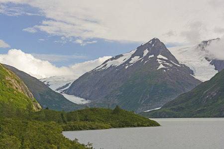 portage: Mountains around the Burns and Portage Glaciers in Alaska Stock Photo