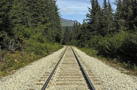 railroad tracks: Railroad Tracks in a Remote Wilderness in Chugach National Forest in Alaska