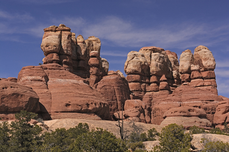 spires: Red Rocks Spires Poke Into the Sky in Canyonlands National Park