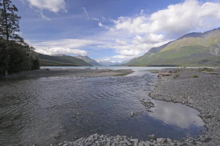 emptying: Primrose Creek Emptying into Kenai Lake in the Kenai Peninsula of Alaska