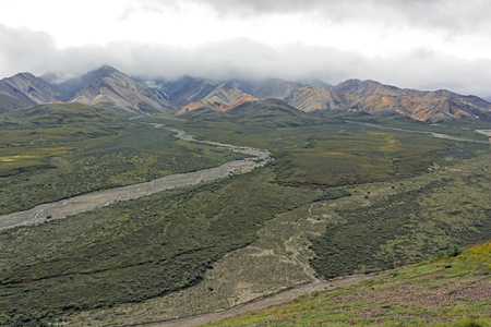polychrome: Colorful Mountains in the Clouds at Polychrome Pass in Denali National Park in Alaska