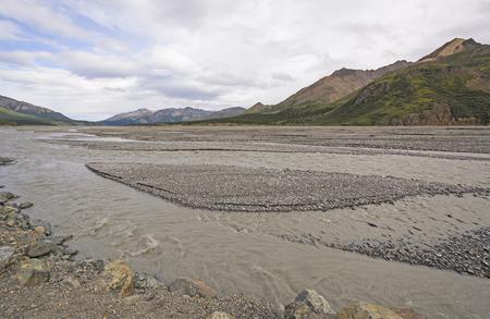 denali: Glacial Braided Toklat River River in the Wilds of Denali National Park of Alaska Stock Photo