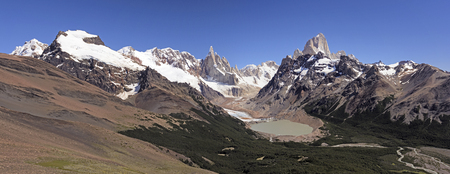 el chalten: Mountains, Valleys, and Glaciers Patagonian Andes of Los Glaciaries National Park in Argentina