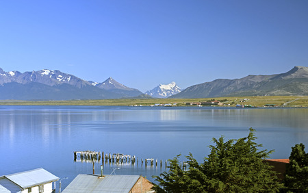 puerto natales: View of the Torres del Paine from Puerto Natales in Chile