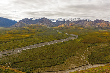 polychrome: Colorful Mountains above a Tundra Valley from Polychrome Pass in Denali National Park in Alaska