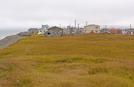 Coast and Meadow View of Barrow, Alaska 版權商用圖片 - 56966854