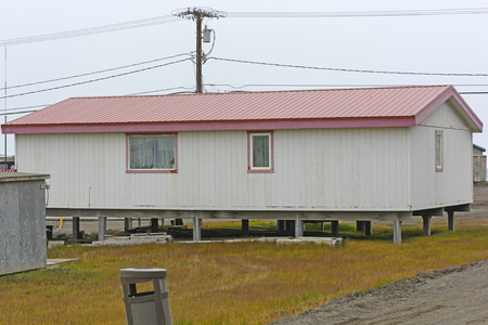Raised House in the Arctic over the Permafrost in Barrow, Alaska