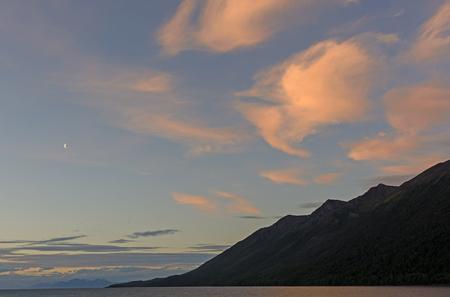 tierra: Twilight in a Channel in Tierra del Fuego Stock Photo