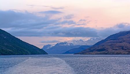 tierra del fuego: Evening Passage Through an Ocean Fjord in Tierra del Fuego