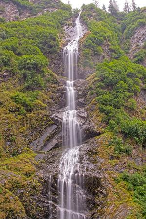 keystone: Dramatic Bridal Veil Falls in the Mist of Keystone Canyon near Valdez, Alaska
