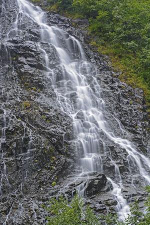 keystone: Horsetail Falls in Keystone Canyon near Valdez, Alaska Stock Photo
