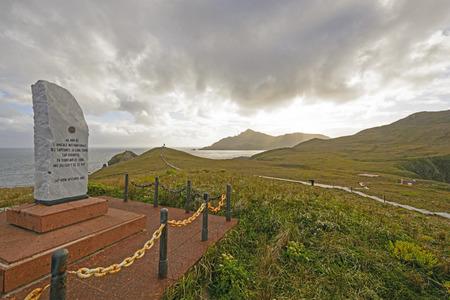 岬角記念碑とチリのティエラ ・ デル ・ フエゴの献身の石 写真素材