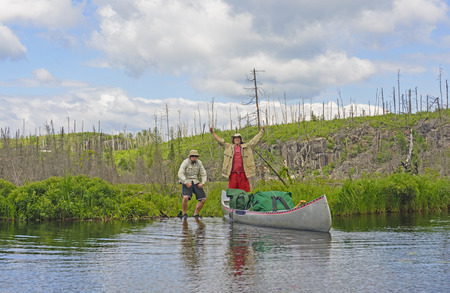 boundary: Made it over the Portage onto Kiskadinna Lake in the Boundary Waters in Minnesota Stock Photo