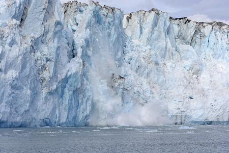 calving: Calving Ice on the Tidal Columbia Glacier in Alaska