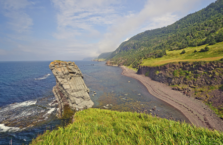 national scenic trail: Coastal Panorama on a Remote Coast on the Green Gardens trail in Gros Morne National Park in Newfoundland, Canada