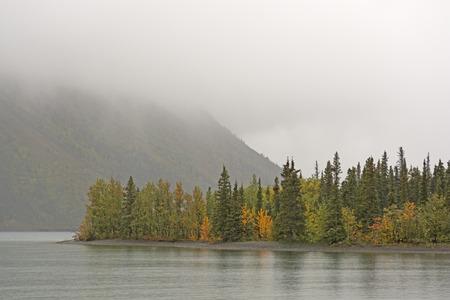 yukon territory: Fog and Fall in Kathleen Lake in Kluane National Park in the Yukon Territory Stock Photo