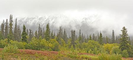 yukon territory: Fall Snow in the Mountains along the Alaska Highway in the Yukon