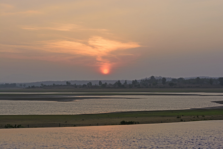 Sunset over the Kabini River in India