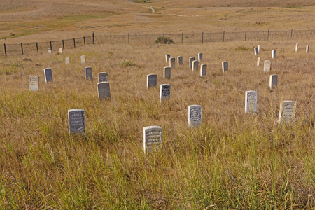 gravesite: Main Gravesite of the Little Bighorn National HIstoric Battlefield National Park in Montana Stock Photo
