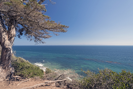 Pacific Ocean from a Coastal Cliff on the Douglas Family Preserve in Santa Barbara, California Stock Photo