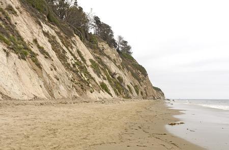 arroyo: Quiet Beach on a Cloudy Day on Burro Arroyo Beach in Santa Barbara, California