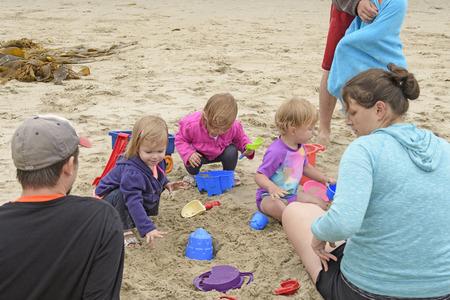 arroyo: Little Kids Playing on the Beach in Burro Arroyo Beach in Santa Barbara, California