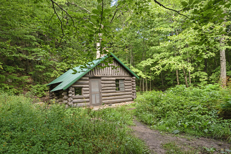 Remote Cabin in the Forest in Porcupine Mountains State Park in Michigan Banque d'images