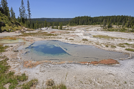 backcountry: Colorful Pool in the Backcountry of the Shoshone Thermal Area in Yellowstone National park in Wyoming